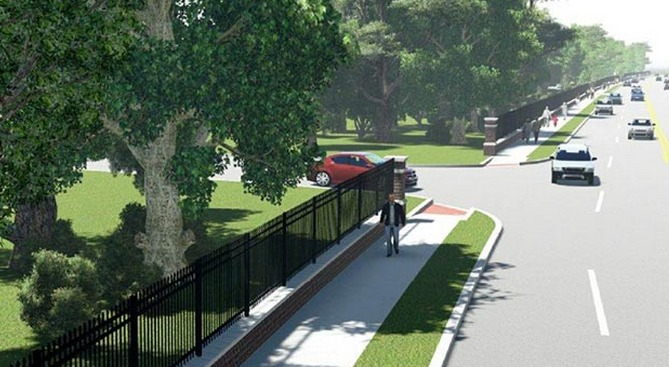 Tulsa Mayor Dewey Bartlett won't commit to building this sidewalk to provide direct walking access to the city's major new park, but he hasn't ruled it out either. (via streetsblog.org; Rendering: Smart Growth Tulsa Coalition)
