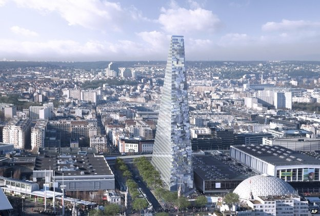 The 43-floor Triangle tower would be 180m (590ft) high and be home to 5,000 workers. (via bbc.com)