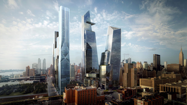 A rendering of the first phase of Hudson Yards on the West Side of Manhattan in New York is shown in this handout photo released to the media on Aug. 23, 2013. (Source: The Related Companies via Bloomberg)