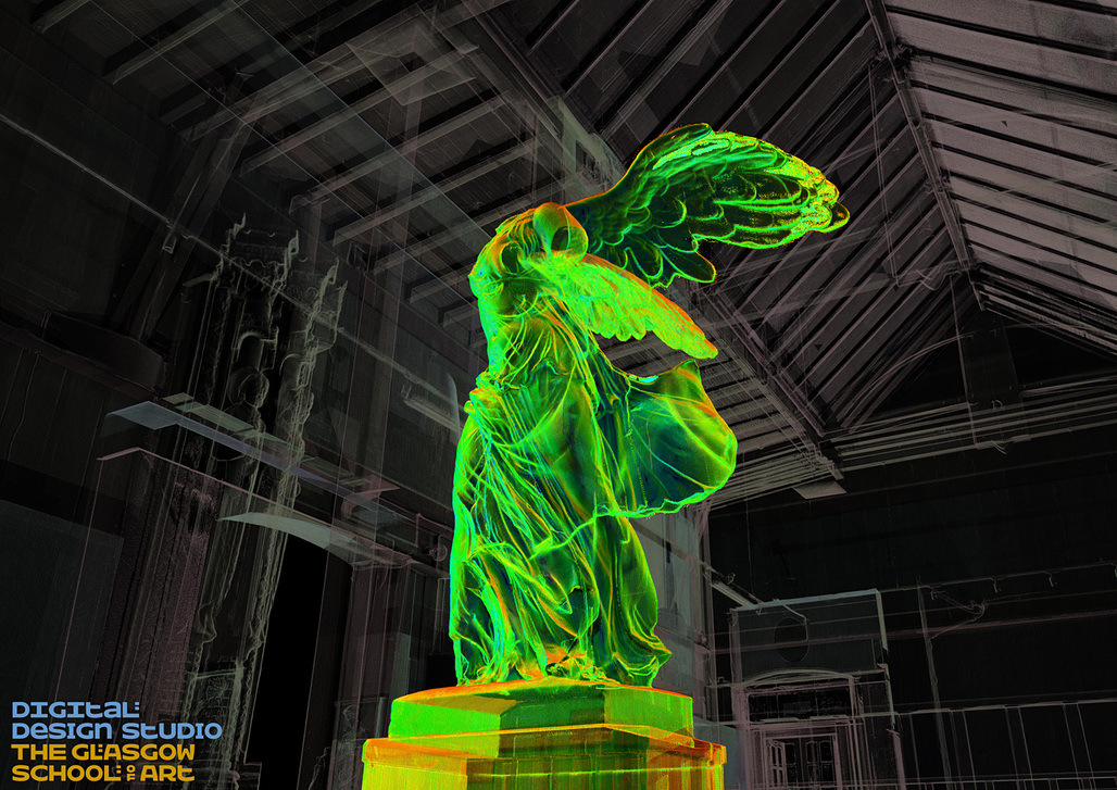 """Winged Visionary in the Mackintosh Museum,"" created via 3D rendering/pointcloud by the GSA. Image: The Digital Design Studio at The Glasgow School of Art."
