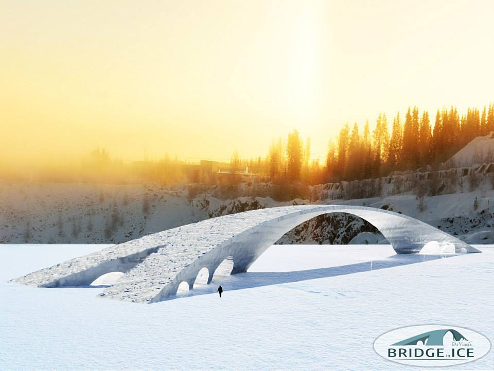 Dont toss out your old Renaissance sketches prematurely: this design by Leonardo da Vinci for the longest bridge at the time sat around for over half a millennium before it will finally be completed on February 13. (Image: Bridge in Ice)