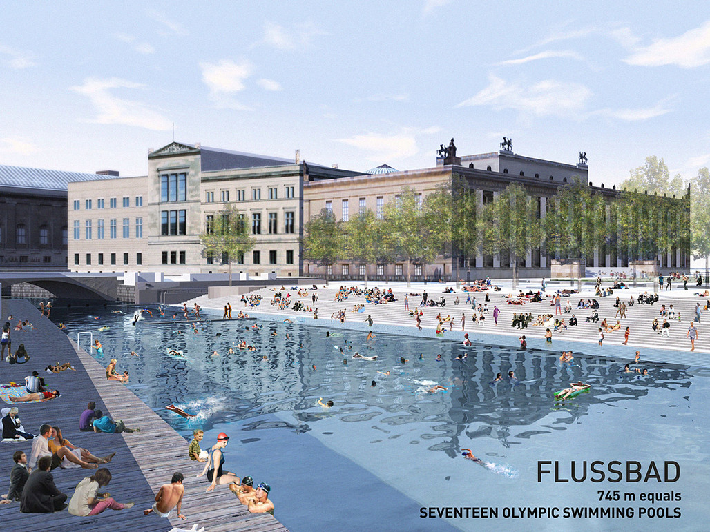 Holcim Gold Award: Urban renewal and swimming-pool precinct, Berlin, Germany by realities united in collaboration with DODK, Germany: Panorama Flussbad - left side.