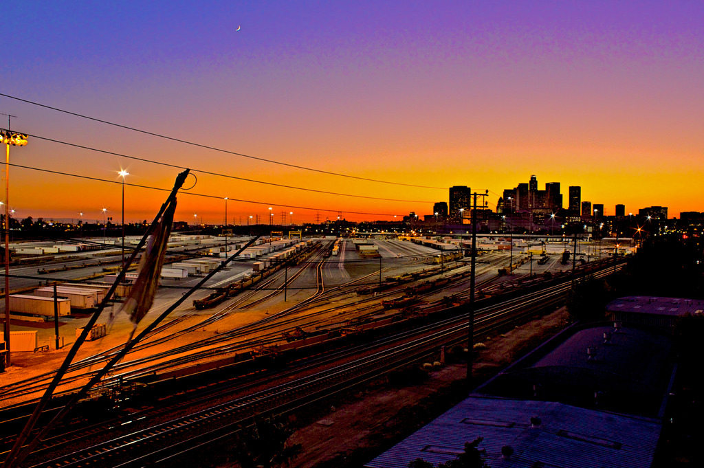 Overlooking the Mission Junction railroad tracks onto Downtown Los Angeles in the distance. Photo: Todd Huffman/Flickr.