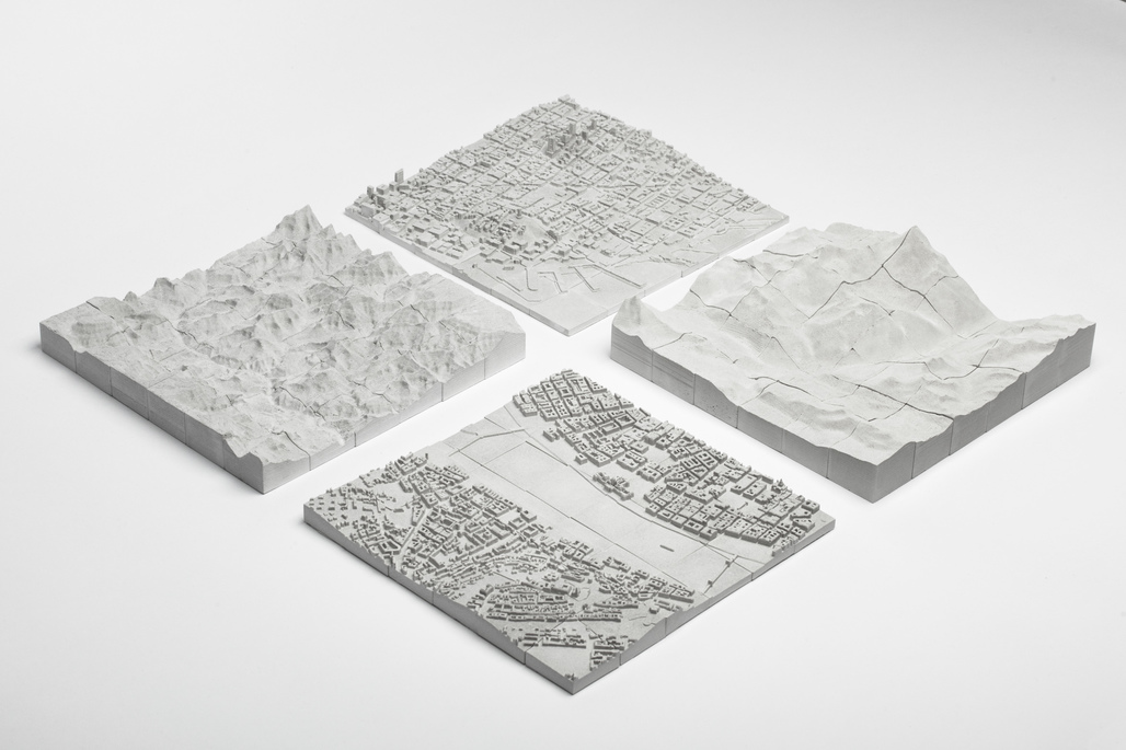 Planbureaus topographical, 3D concrete puzzles of San Francisco, The Grand Canyon, Budapest, and Zermatt.