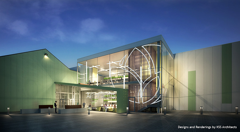 Rendering of the new AeroFarms indoor vertical farm and corporate headquarters in Newark, NJ. Image courtesy of AeroFarms/RBH Group.