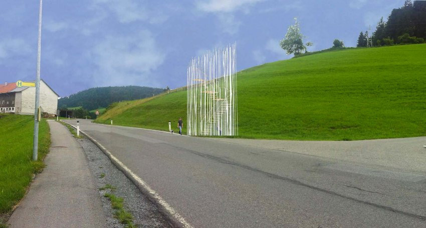 "Japanese architecht Sou Fujimotos stop is a ""wild forest of thin steel and wooden poles"" arranged around a spiral staircase. While interesting to behold, it does not provide much shelter from the elements. (BUS:STOP Krumbach/ Sou Fujimoto)"