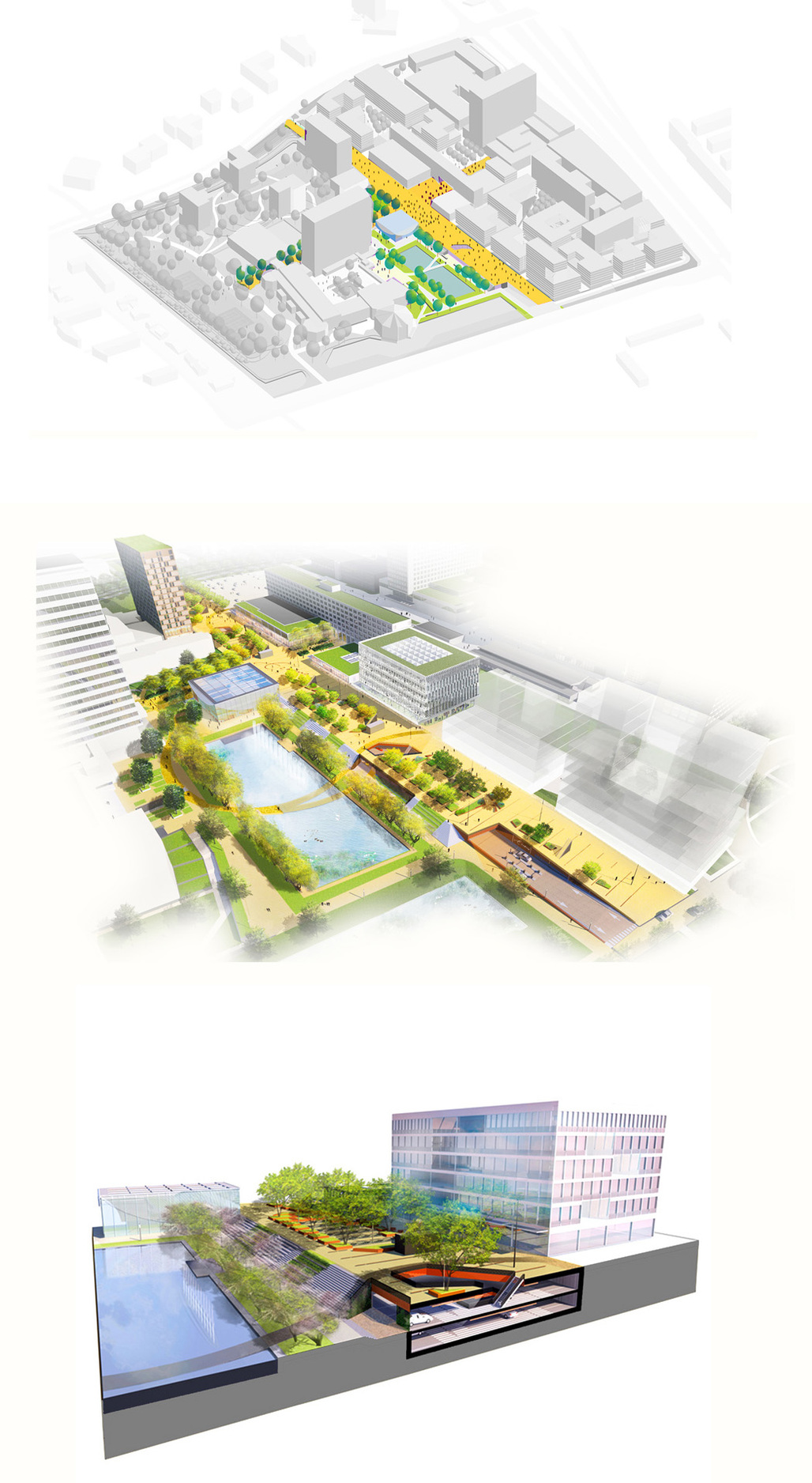 diagrams of masterplan and first phase of the new campus