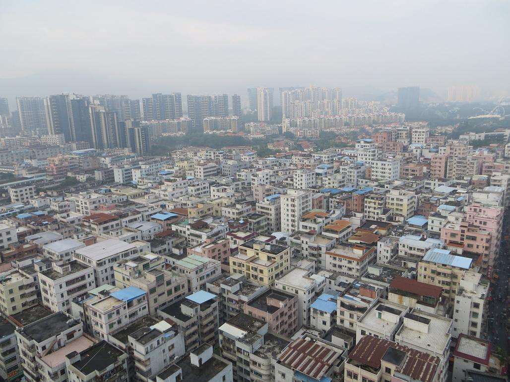 Aerial view of the Baishizhou urban village in Shenzhens inner district. (Photo: Maurice Veeken)