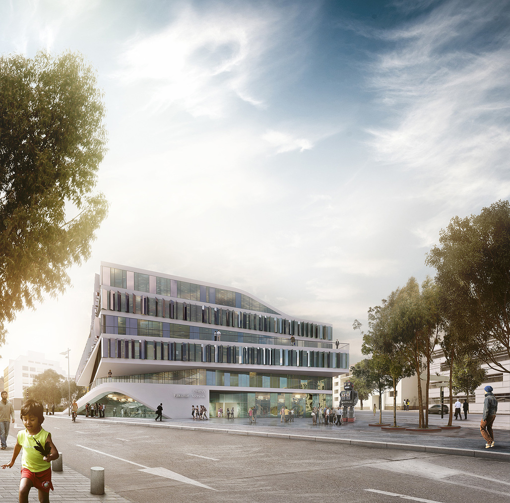 Exterior rendering of 3XNs winning building design for German university Duale Hochschule Baden-Württemberg (Image: 3XN)