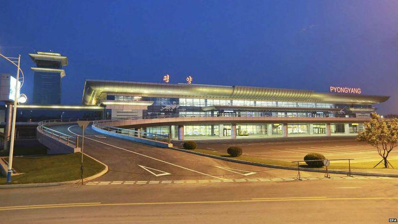 "Sources claim that North Korean leader Kim Jong Un had the principal designer of Pyongyangs shiny new airport executed for failing ""to preserve the Juche character and national identity"" of this key project. (Image via Ankit Panda ‏on Twitter @nktpnd)"