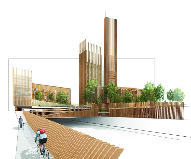 Michael Green Architectures proposed 35-story wooden skyscraper for Paris is just one of many high-rise timber structures happening right now. (Image via mg-architecture.ca)