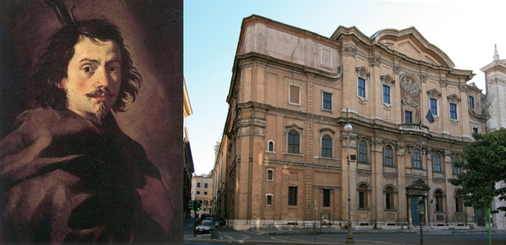 (L) Italian architect Francesco Borromini committed suicide in 1667; (R) his Oratory of Saint Phillip Neri.