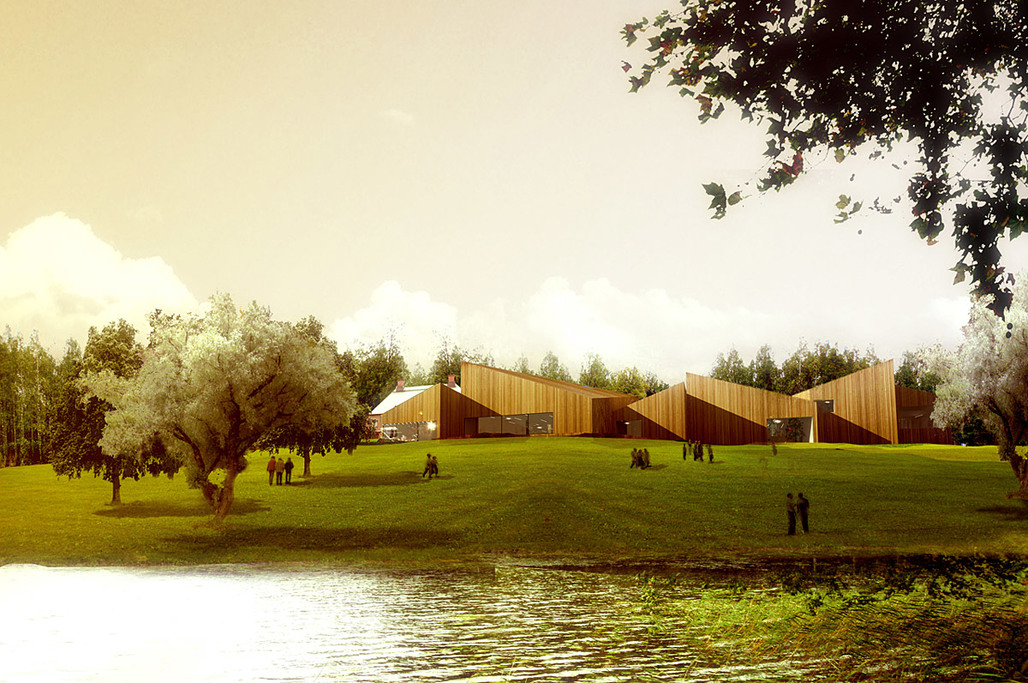Visualization of the proposed Serlachius Art Museum Gösta extension by MACA (Image: MACA)