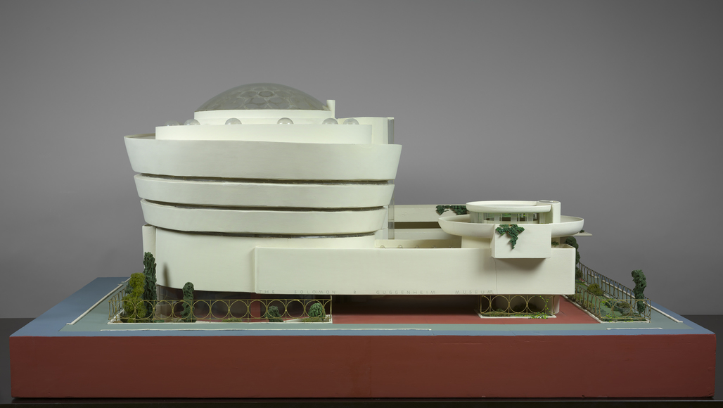 Frank Lloyd Wright (American, 1867–1959). Solomon R. Guggenheim Museum, New York. 1943–59. Model. Painted wood, plastic, glass beads, ink, and watercolor on paper, 28 x 62 x 44″ (71.1 x 157.5 x 111.8 cm). The Frank Lloyd Wright Foundation Archives (The Museum of Modern Art | Avery Architectural & Fine Arts Library, Columbia University, New York)
