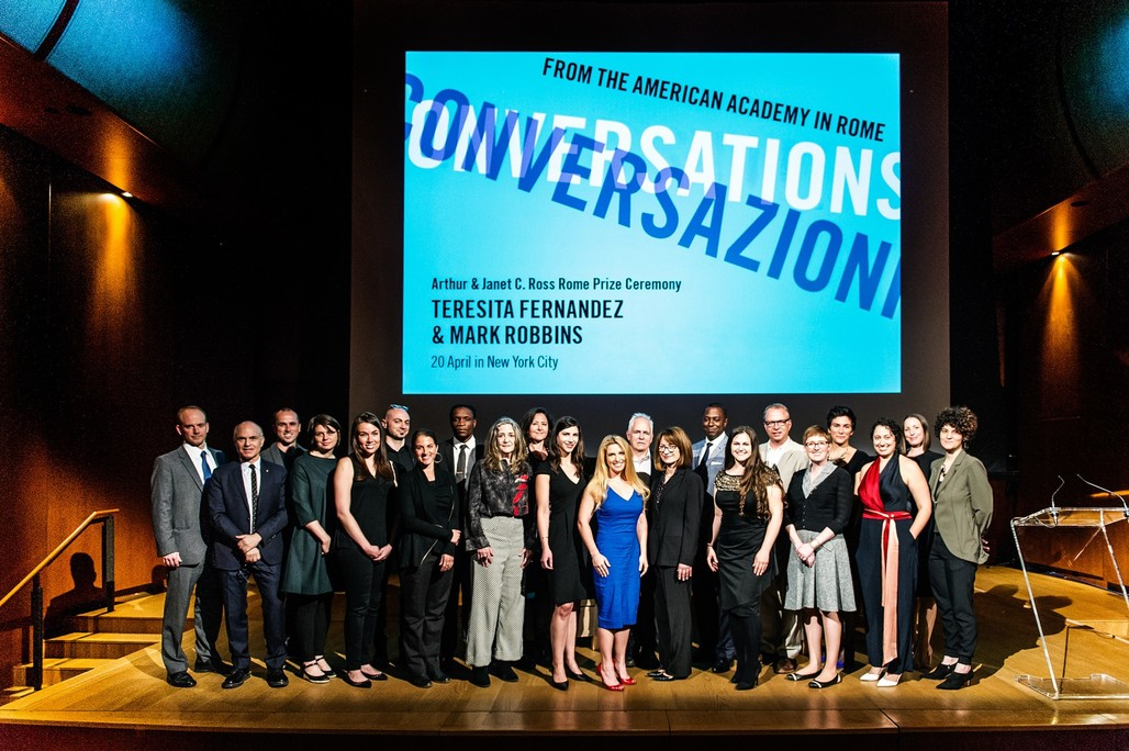 2017-18 Rome Prize Winners with the new Director, John Ochsendorf and American Academy in Rome President Mark Robbins. Photo: Christine Butler.