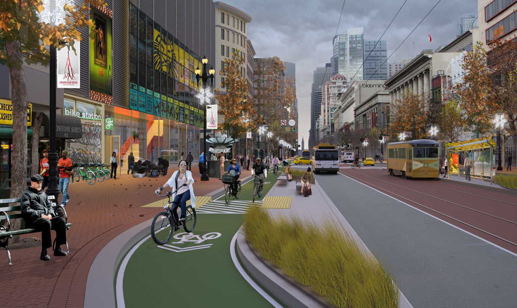 A rendering imagines happy bicyclists safely traversing San Francisco via dedicated bike paths. Credit: SF Bicycle Coalition, via Wired