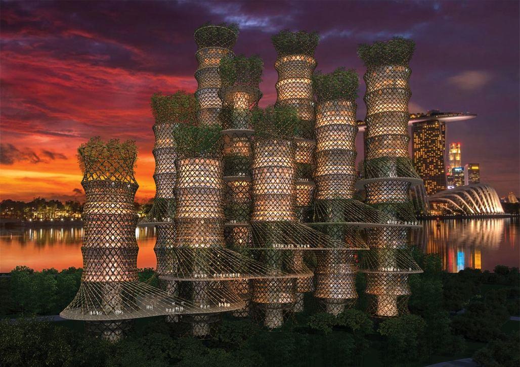 CRGs Bamboo Skyscraper cluster (rendering by EAFIE, Ltd.)