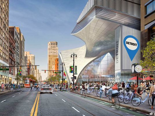 One of several big-project hopefuls is this SHoP-designed mixed-use development at the site of the former Hudsons store on Woodward Avenue. (Image: Rock Ventures; via freep.com)