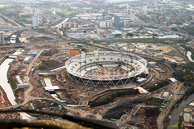 The London Olympic Stadium under construction in 2009. Photo via Wikipedia.