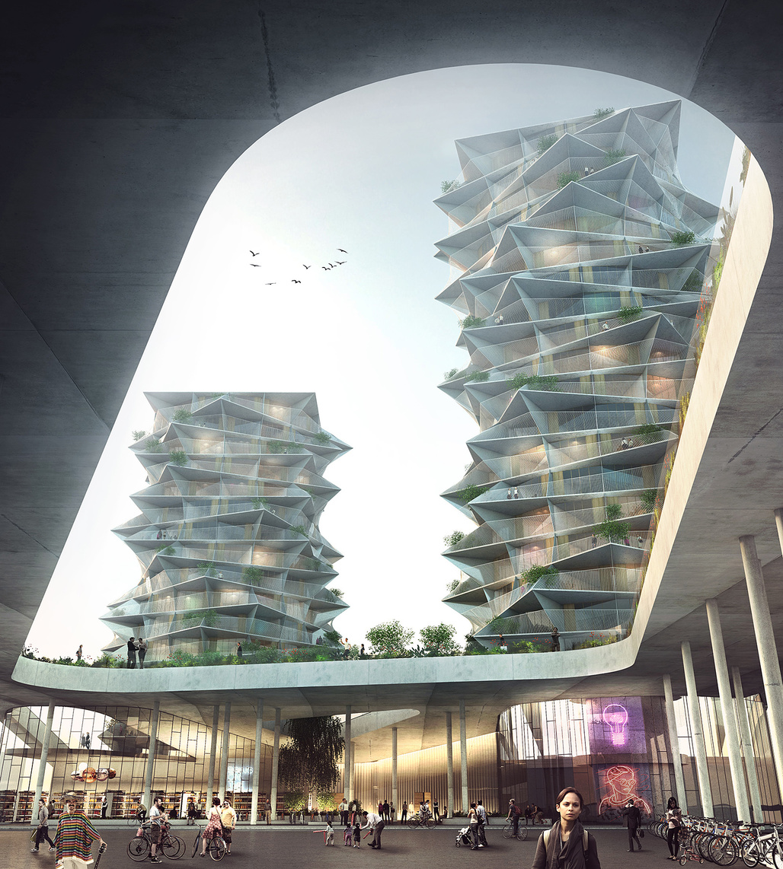 BIG's Cactus Towers. Image courtesy of BIG.
