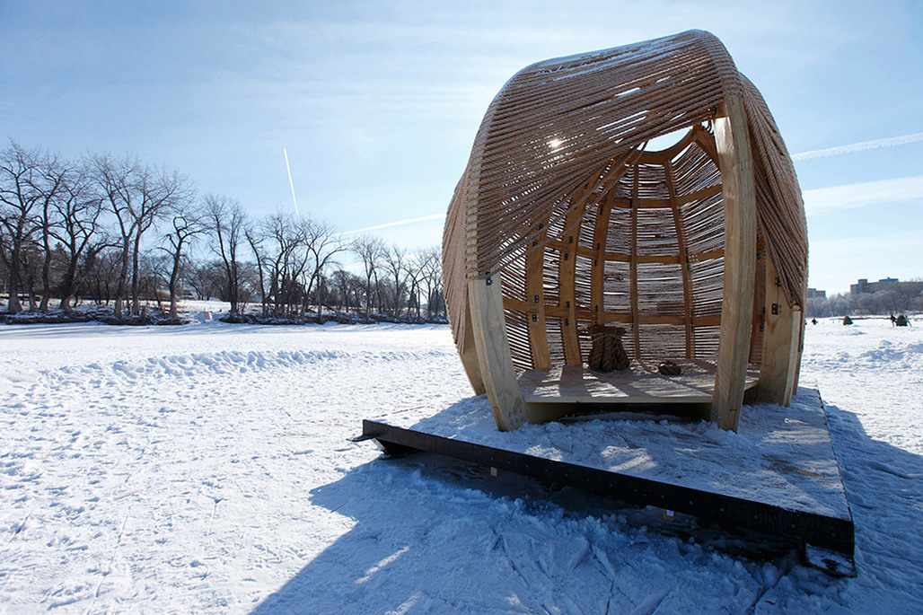 Winner of the NEXT LANDMARK Contest and the 2012 Warming Huts Design Competition: ROPE pavilion by Kevin Erickson/KNEstudio (Photo: Brian Gould)