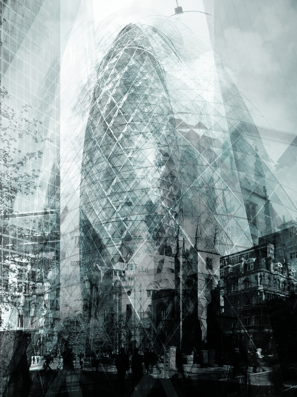 "Bryan Scheib, ""The Gherkin,"" digital computer file, 2013. Created by superimposing dozens of the user-uploaded photographs that rank near the top of a Google Image search, this visualization by Bryan Scheib captured the tension between consistency and variation in visual representation that characterizes urban icons. Courtesy of Bryan Scheib."