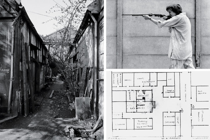 Clockwise from left: Brancusi's studio in 1957, the year he died; Niki de Saint Phalle in 1961, creating one of her shooting paintings with a .22 rifle; the layout of the studios, drawn by Brancusi's friend, the painter Alexandre Istrati. Credit Clockwise from left: Manuel Litran/Paris Match via Getty Images; Shunk-Kender, ©J. Paul Getty Trust, Getty Research Institute, Los Angeles (2014.R.20); hand-drawn map of the Impasse Ronsin by Alexandre Istrati, ©Succession Brancusi — all rights...