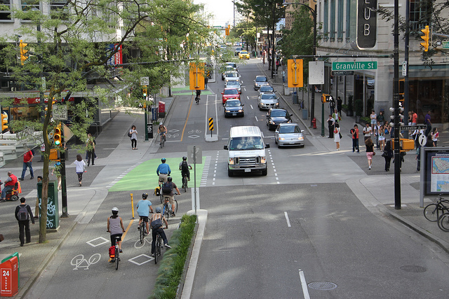 Dunsmuir separated bike lane in Vancouver. Photo: Paul Krueger/Flickr.