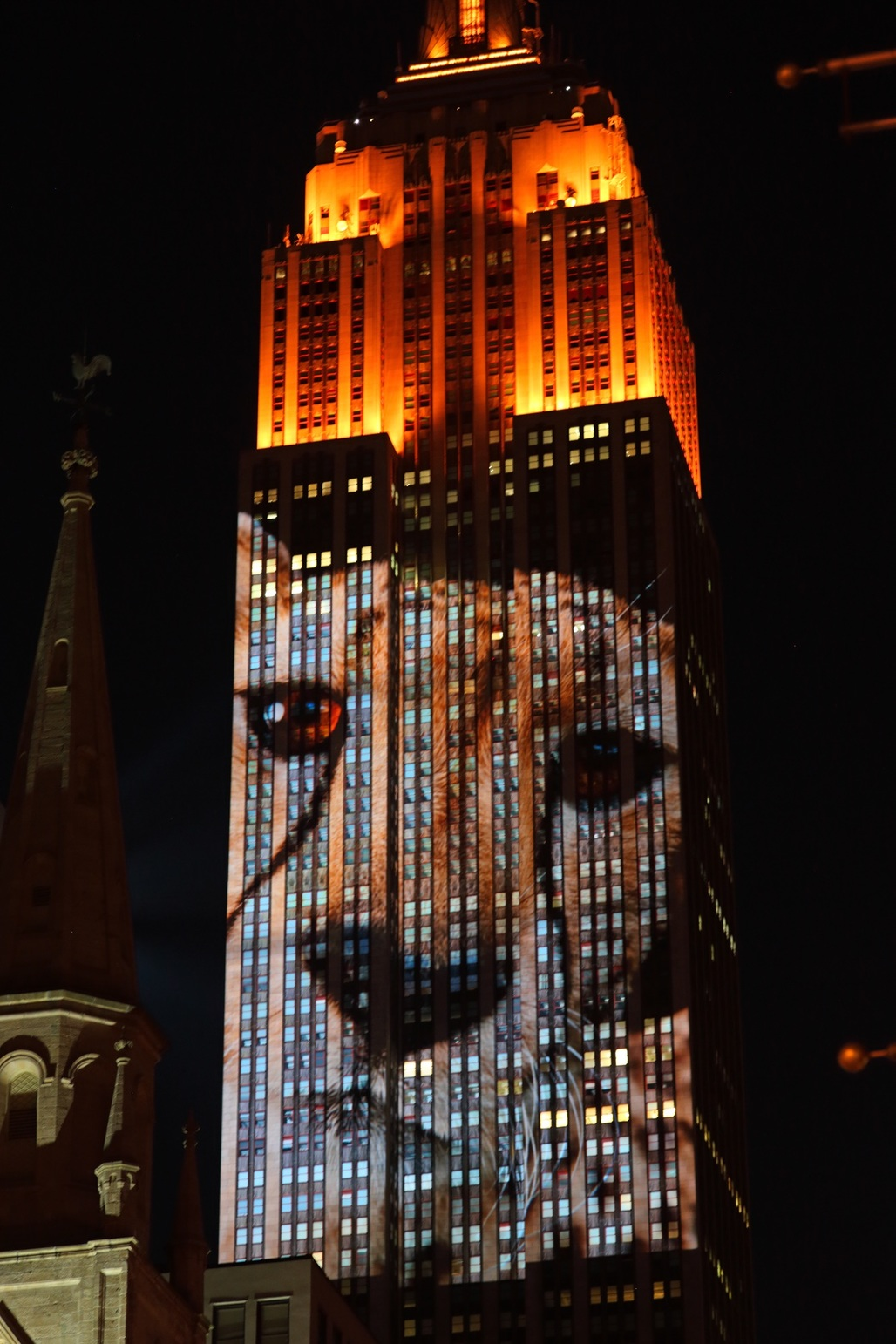 A projected 33-story tall lion on The Empire State Building (photo via ccho)