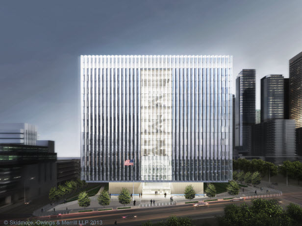 "A 2013 rendering of the newly built <a rel=""nofollow"" target=""_blank"" href=""http://archinect.com/news/article/79843738/la-federal-courthouse-under-construction"">LA Federal Courthouse</a> in downtown. Image courtesy of SOM."
