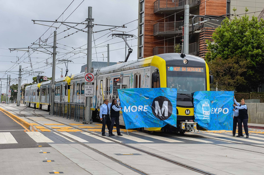 Hooray, the trains finally running all the way to downtown Santa Monica again – for the first time since 1953. (Photo: LA Metro)