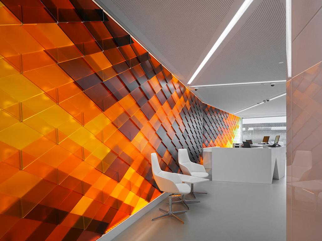Interior of INSIDE-OUT, the design concept for the new Schaffhausen Raiffeisen Bank branch by NAU Architecture and Drexler Guinand Jauslin Architekten. Photo: Roger Frei, Zurich
