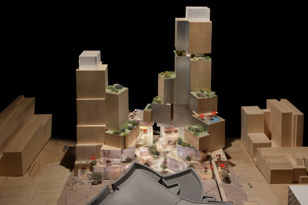 Model of Frank Gehrys conceptual plan for L.A.s Grand Ave. project.