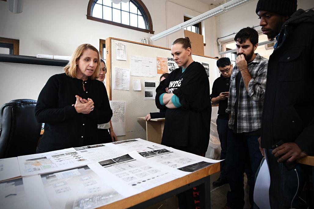 "Catalina Freixas leading the ""Segregation by Design"" studio. (Photo: James Byard/Washington University)"