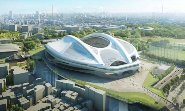 'Like a turtle waiting for Japan to sink so that it can swim away': Zaha Hadid's revised design for the Tokyo 2020 Olympic stadium. (via the guardian.com; Image: ZHA)