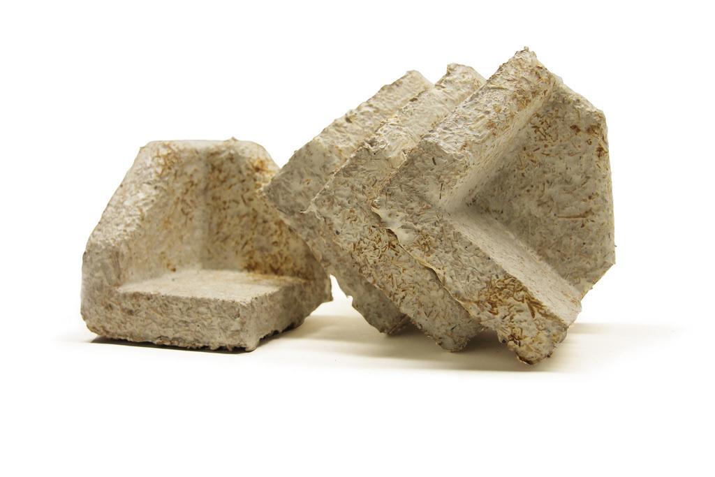 Examples of Ecovatives engineered mushroom material.