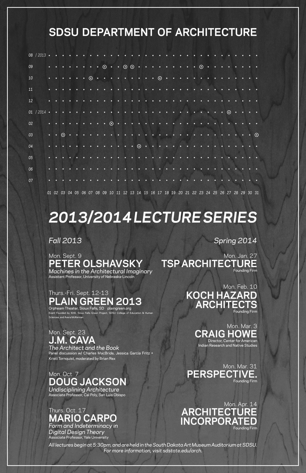 Poster for the SDSU Department of Architectures Fall 13 and Spring 14 lecture series. Image courtesy of SDSU.