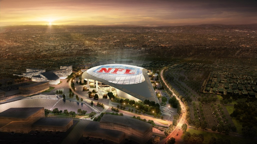 Rendering of the Inglewood stadium proposal which appears to be favored over the rival stadium concept in Carson.