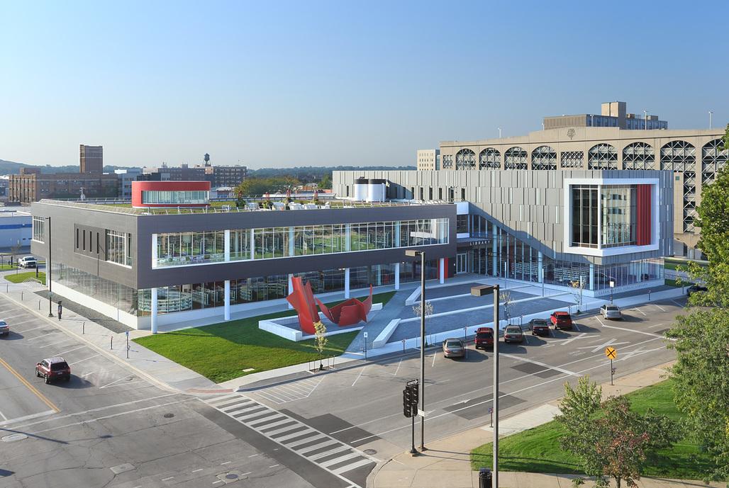 Cedar Rapids Public Library; Cedar Rapids, Iowa by OPN Architects. Photo © Main Street Studio