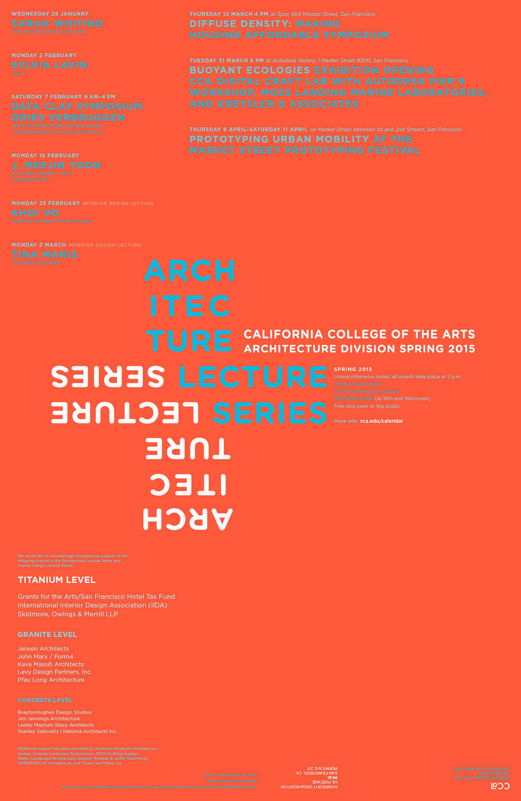 Spring 15 lectures + events for California College of the Arts Architecture and Interior Architecture. Image courtesy of California College of the Arts