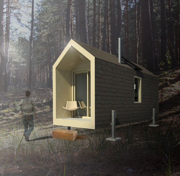 1st Prize – The Whaelghinbran Nomadic Cabin. Designer: Nathan Fisher, B.Arch Sci, M.Arch (Toronto, Ontario, Canada)
