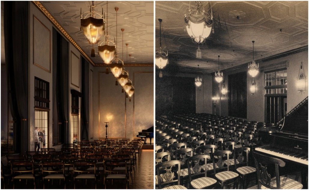 Left, a rendering shows a recital hall on the eighth floor of a condominium tower being built in the former Steinway Hall on West 57th Street. Archival photographs of the original, which was destroyed decades ago, right, are guiding construction of the near replica. Credit Left: Hayes Davidson; Right: Steinway & Sons Archives.