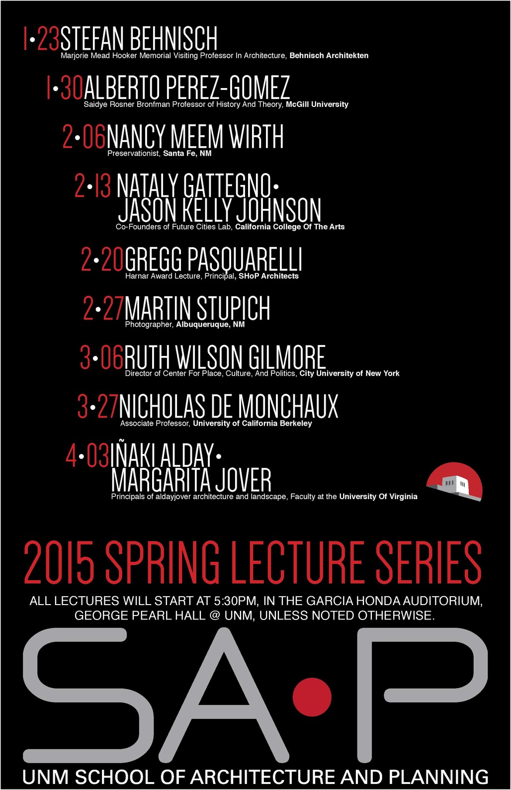 Spring 15 Lecture Series at The University of New Mexico School of Architecture and Planning. Image via saap.unm.edu
