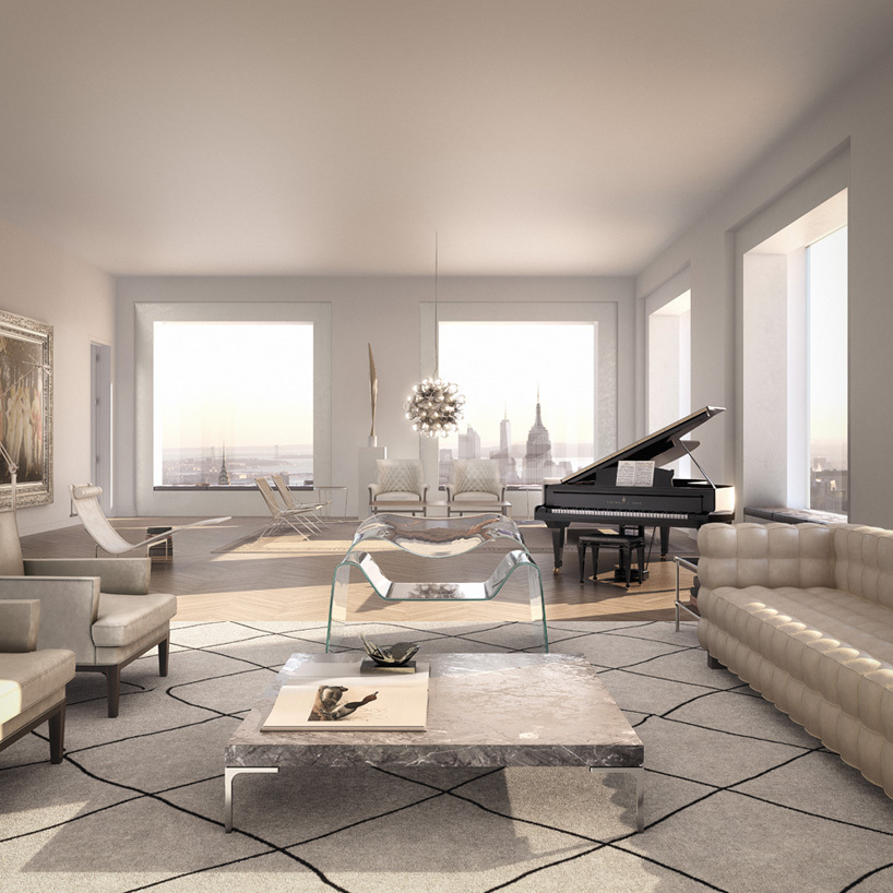 A rendering of the inside of one of the apartments at 432 Park. Image credit: Douglas Elliman