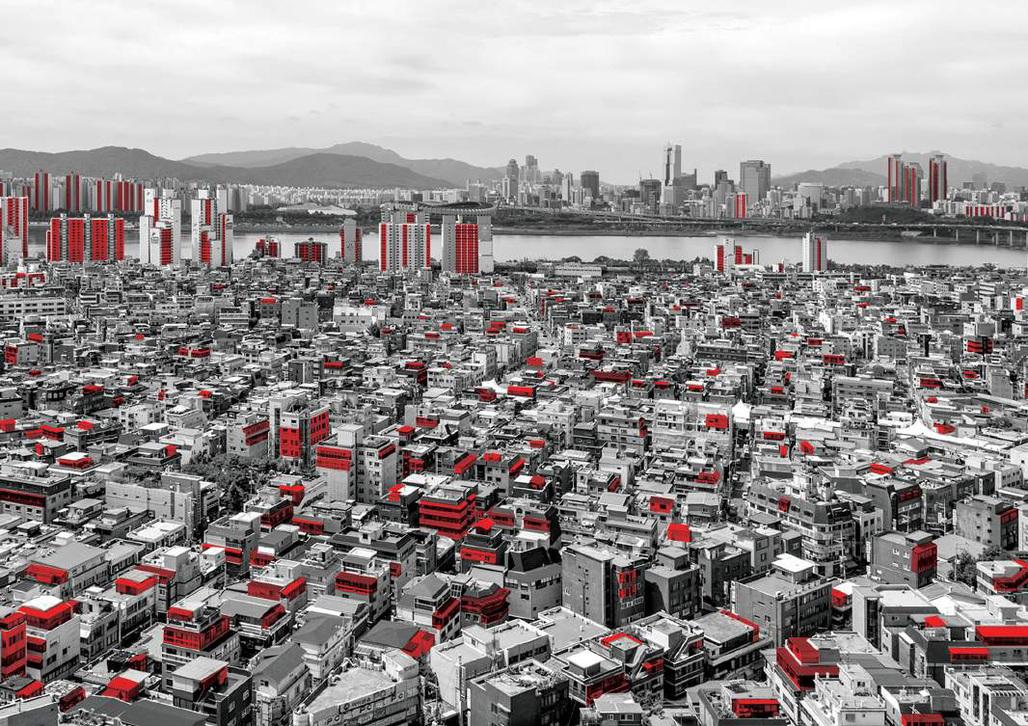 The FAR Game in Seoul, 2016. © Sung Hong KIM, Eungee CINN, Keehyun AHN, Seungbum KIM, Isak CHUNG, Da Eun JEONG / Original Photo by Kyungsub SHIN, 'Scrutable Landscape Series No.017, 2015, Pigment Print'.