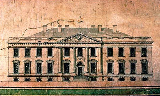 A 1793 elevation of the White House by architect James Hoban, who won the design competition to build the presidents new home.