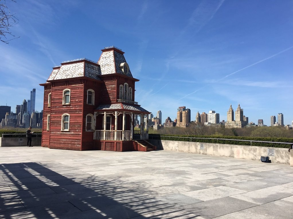 "Cornelia Parkers ""Transitional Object: PsychoFarm"" on the Met rooftop. Image credit the Met via Twitter."