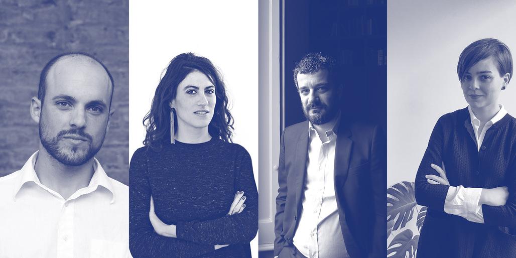 2016 Wheelwright Prize finalists (from L to R): Samuel Bravo, Matilde Cassani, Pier Paolo Tamburelli, Anna Puigjaner. Photo courtesy Wheelwright Prize.