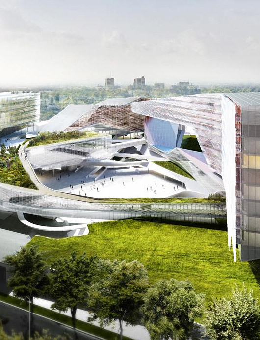 Cropped aerial view of the new Eni Exploration & Production Business Center in San Donato Milanese, Italy by Morphosis Architects with Nemesi Partners, Setec TPI, Setec Batiment and Pasodoble