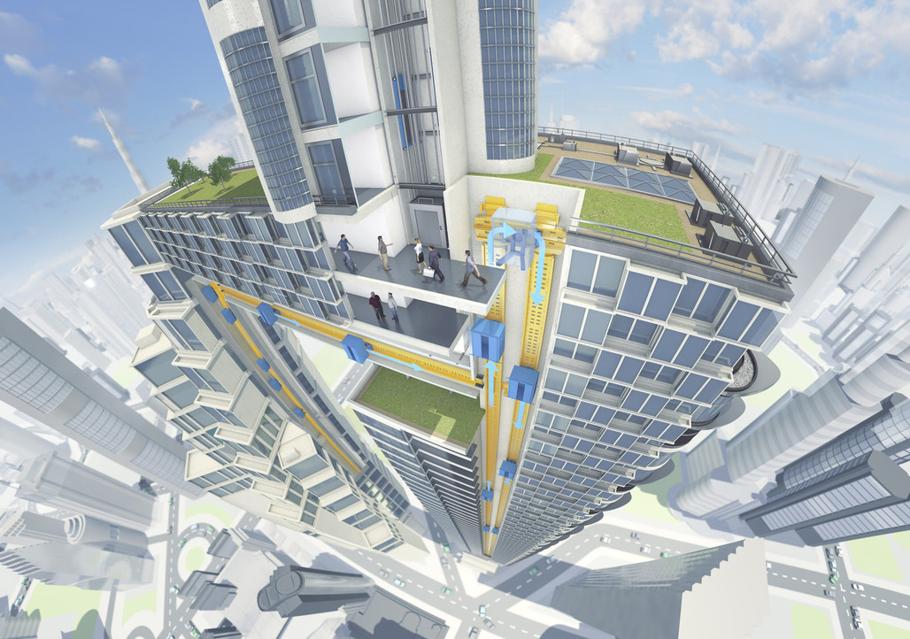 """""""ThyssenKrupp's MULTI consists of various cabs per shaft and enables vertical and horizontal movement."""" Image copyright ThyssenKrupp."""